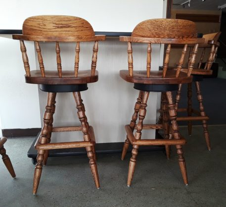 Wood Seat Bar Stools Back View